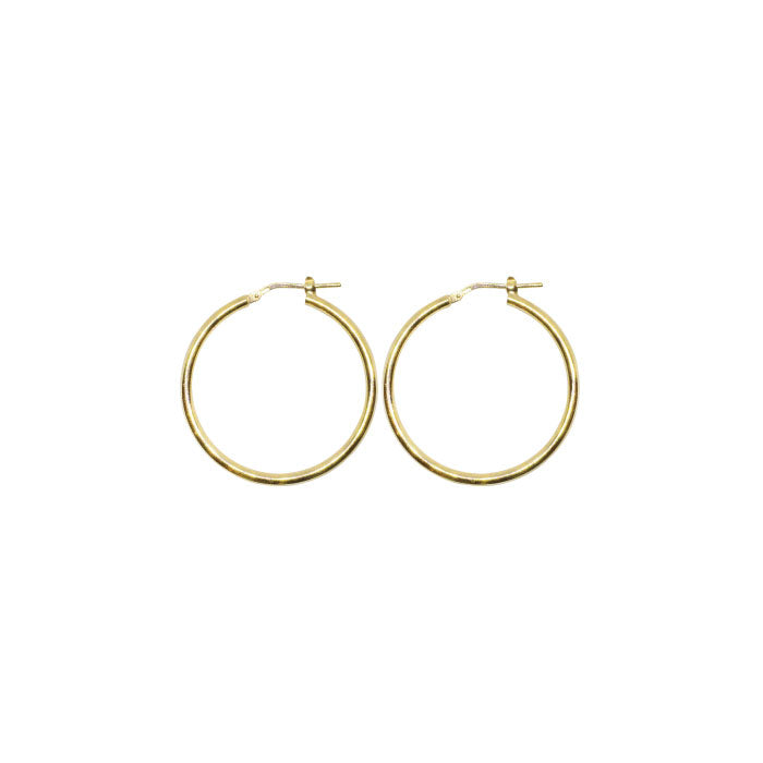 25mm Sterling Silver Gypsy Hoop Earrings - Silver, Gold and Rose gold