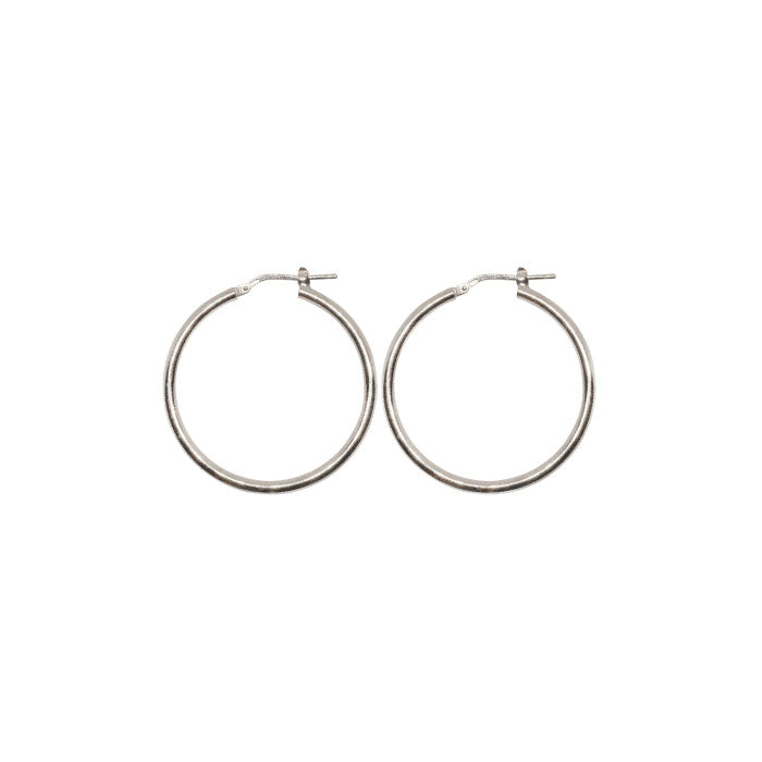 30mm Sterling Silver Gypsy Hoop Earrings - Silver, Gold and Rose gold