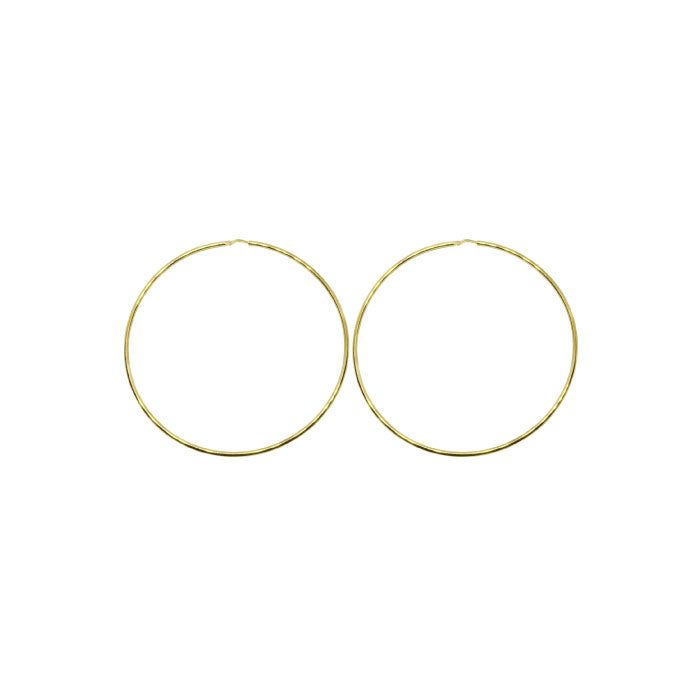 50mm Sterling Silver Gypsy Hoop Earrings - Silver, Gold and Rose gold
