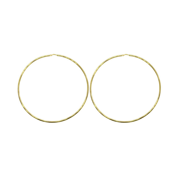 70mm Sterling Silver Gypsy Hoop Earrings - Silver, Gold and Rose gold