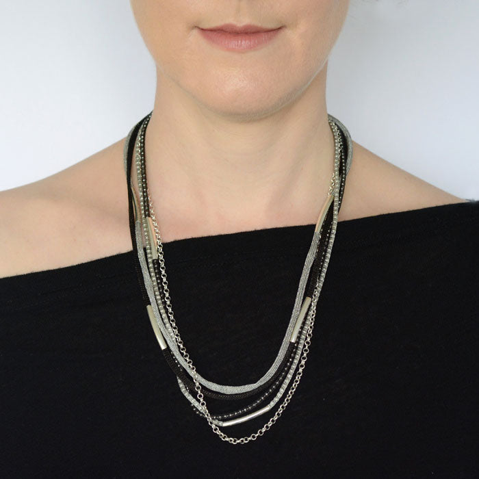 Silver Rainbow Necklace - Black and Silver