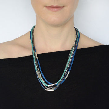 Silver Rainbow Necklace - Blue