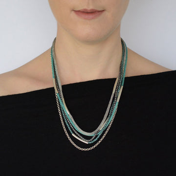 Silver Rainbow Necklace - Green