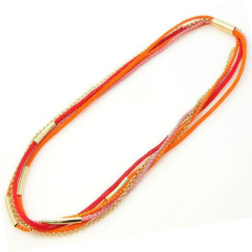 Silver Rainbow Necklace - Orange
