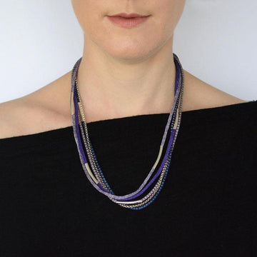 Silver Rainbow Necklace - Purple