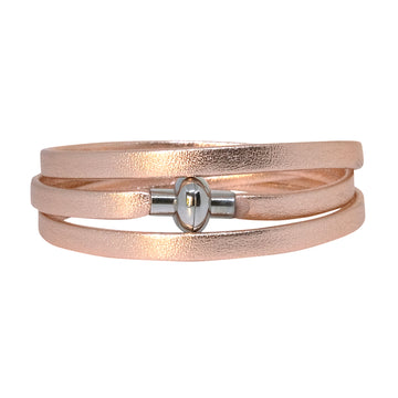 Leather Rainbow Bracelet - Rose Gold