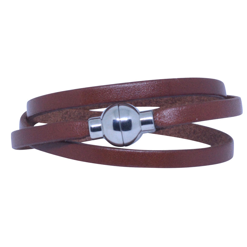 Leather Rainbow Bracelet - Brown