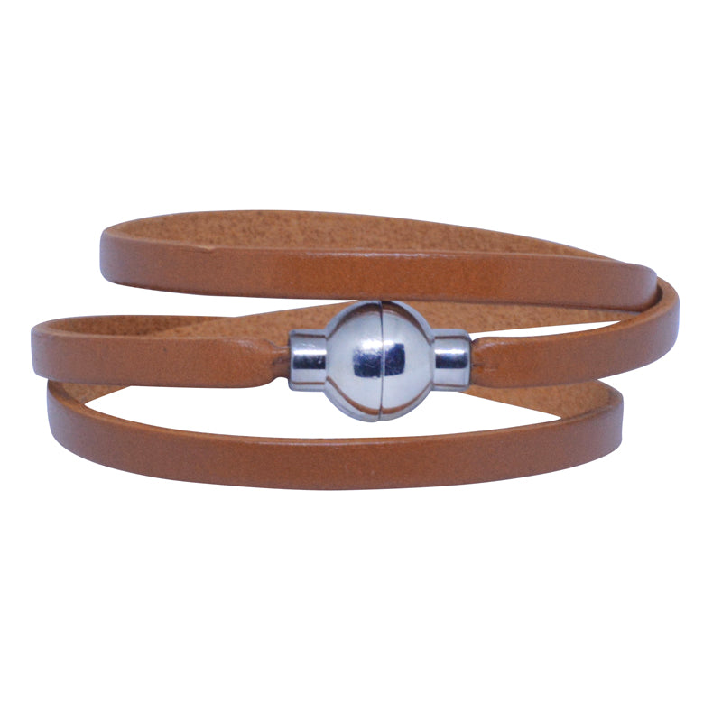 Leather Rainbow Bracelet - Dark tan