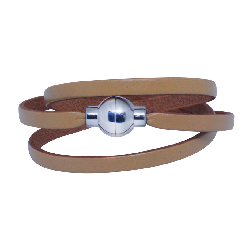 Leather Rainbow Bracelet - Light tan