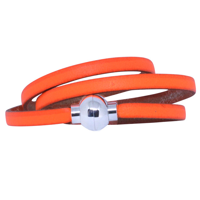 Leather Rainbow Bracelet - Neon Orange