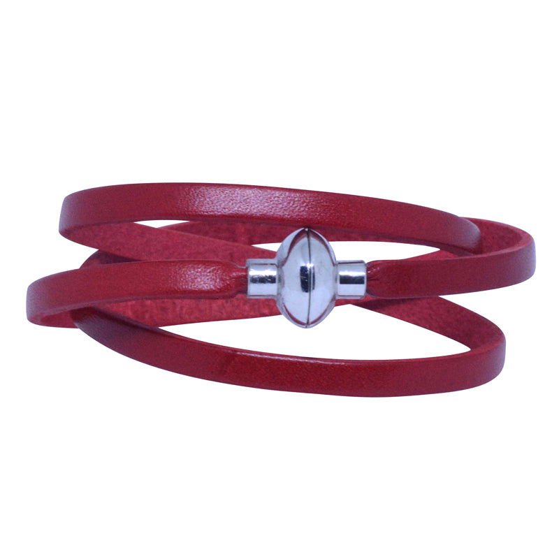 Leather Rainbow Bracelet - Red