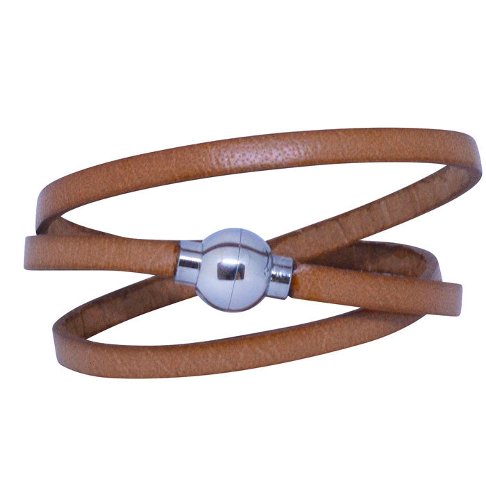 Leather Rainbow Bracelet - Tan