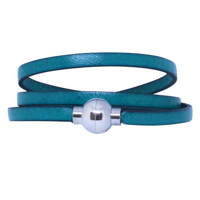 Leather Rainbow Bracelet - Turquoise