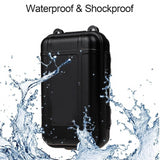 Survival kit presented on white background with descripted features waterproof and shockproof