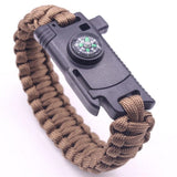 this is a brown rope bracelet with a compass, on a white background