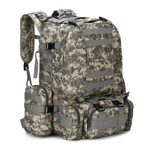 Military backpack survival camo 55L molle acu on white background