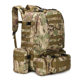 Military backpack survival camo 55L molle camo on white background