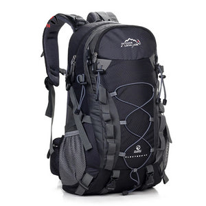 this is a black mountaineering backpack on the white backround