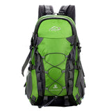 this is a green mountaineering backpack on the white backround