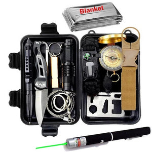 This is a survival kit on the white backround. The survival kit contain a pen,knife, bracelets,laser,compass