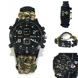 watch made in camo paracord on a white background