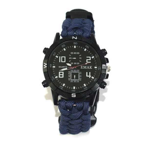 watch made in blue paracord on a white background