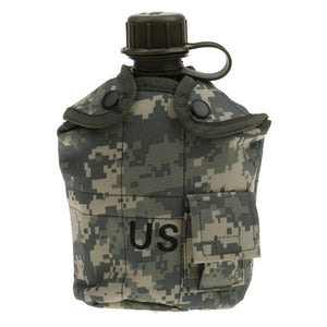 1L military survival gourd with green camo colors pouch tactical