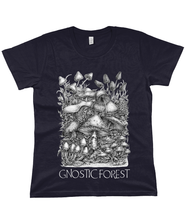 Load image into Gallery viewer, Gnostic Forest Women's Eco 100% Organic Cotton Mushroom T-Shirt with Paul Stamets Quote - Gnostic Forest Art