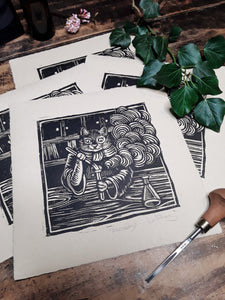 """Alchemy"" Limited Edition Original Linoprint on Zerkall Antique Paper - Gnostic Forest Art"