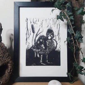 """Fluffy Duck"" Limited Edition Original Linoprint on Somerset Satin Paper - Gnostic Forest Art"