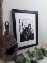 "Load image into Gallery viewer, ""Fluffy Duck"" Limited Edition Original Linoprint on Somerset Satin Paper - Gnostic Forest Art"