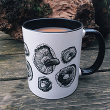 Load image into Gallery viewer, Pen and Ink Shiitake Mushroom Two-Toned Ceramic Mug - Various Colours - Gnostic Forest Art