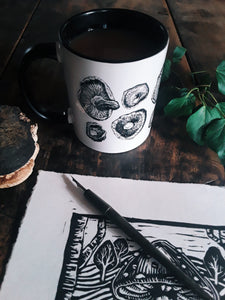 Pen and Ink Shiitake Mushroom Two-Toned Ceramic Mug - Various Colours - Gnostic Forest Art