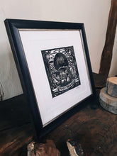 "Load image into Gallery viewer, ""Penny Bun and Oak"" Limited Edition Original Linoprint - Gnostic Forest Art"