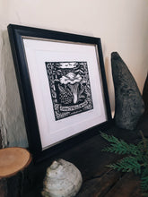"Load image into Gallery viewer, ""Chanterelle and Pine"" Limited Edition Hand Pressed Mushroom Linoprint - Gnostic Forest Art"