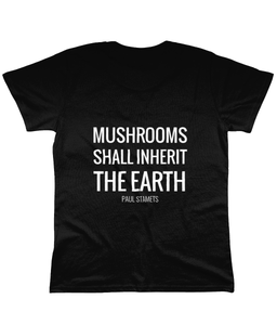 Gnostic Forest Women's Eco 100% Organic Cotton Mushroom T-Shirt with Paul Stamets Quote - Gnostic Forest Art