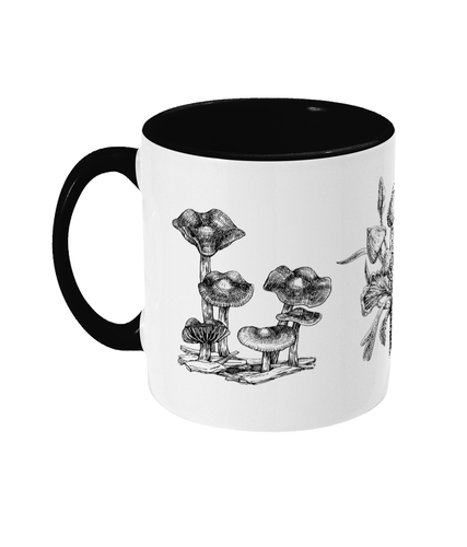 Illustrated Psilocybe Mushroom Two-tone Ceramic Mug - Gnostic Forest Art