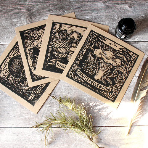 Set of 4 Recycled Mycorrhizal Mushroom Greetings Cards - Gnostic Forest Art