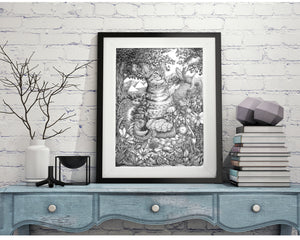 "Pen and Ink ""The Odyssey"" Reproduction/Giclée Fine Art Print - Gnostic Forest Art"