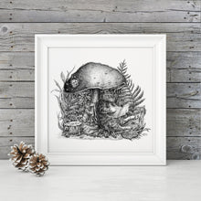 "Load image into Gallery viewer, Pen and Ink ""The Cats and the Mushroom"" Reproduction/Giclée Print - Gnostic Forest Art"