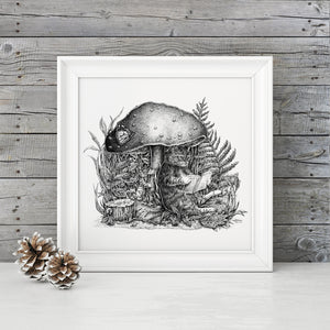 "Pen and Ink ""The Cats and the Mushroom"" Reproduction/Giclée Print - Gnostic Forest Art"