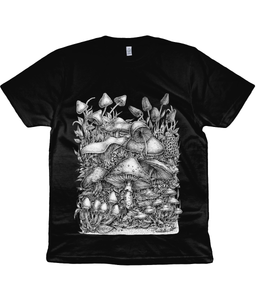 Unisex Eco-Friendly and Climate Neutral 100% Organic Cotton Mushroom T-Shirt - Gnostic Forest Art