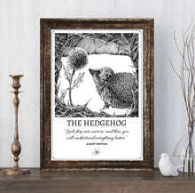 "Load image into Gallery viewer, ""The Hedgehog"" Original Pen and Ink Artwork - Perlino Recycled Print in A4 - Gnostic Forest Art"
