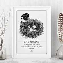 "Load image into Gallery viewer, ""The Magpie"" Original Pen and Ink Artwork - Perlino Recycled Print in A4 - Gnostic Forest Art"