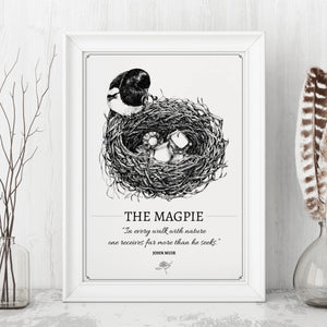 """The Magpie"" Original Pen and Ink Artwork - Perlino Recycled Print in A4 - Gnostic Forest Art"