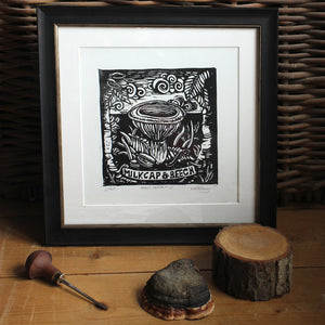 """Milk Cap and Beech"" Limited Edition Original Linoprint - Gnostic Forest Art"