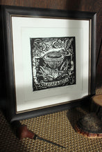 "Load image into Gallery viewer, ""Milk Cap and Beech"" Limited Edition Original Linoprint - Gnostic Forest Art"