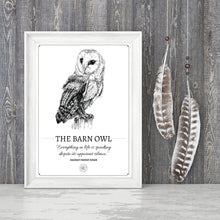 "Load image into Gallery viewer, ""The Barn Owl"" Original Pen and Ink Artwork - Perlino Recycled Print in A4 - Gnostic Forest Art"