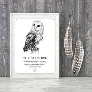 """The Barn Owl"" Original Pen and Ink Artwork - Perlino Recycled Print in A4 - Gnostic Forest Art"