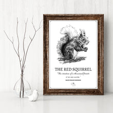 "Load image into Gallery viewer, ""The Red Squirrel"" Original Pen and Ink Artwork - Perlino Recycled Print in A4 - Gnostic Forest Art"